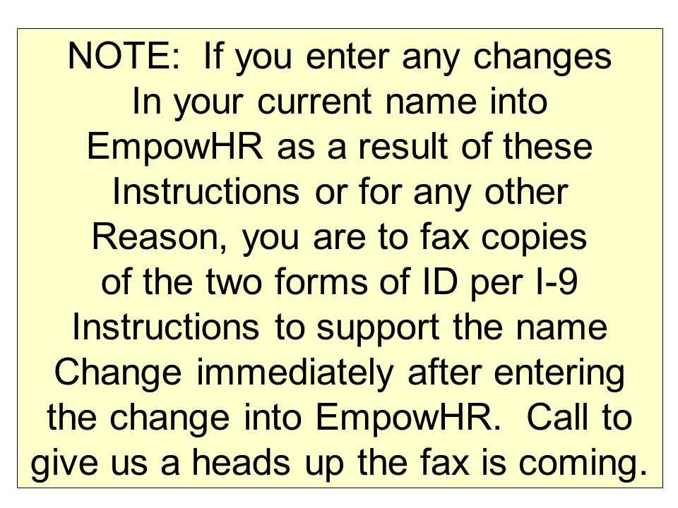 Requesting Name Changeupdate Via Empowhr Employee Self Service