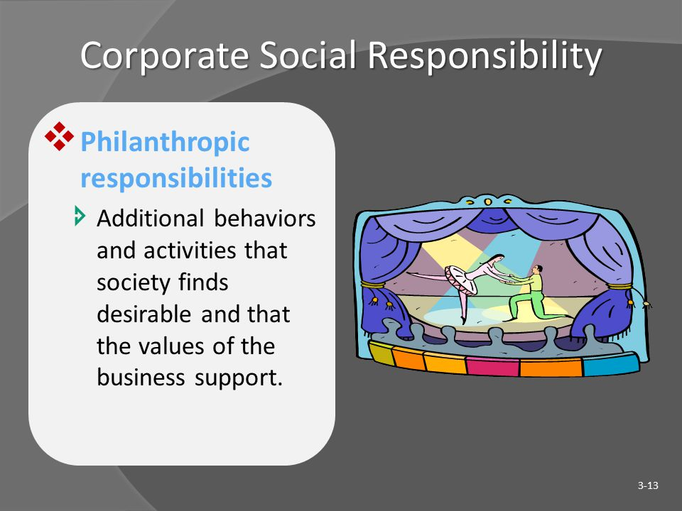 Corporate Social Responsibility  Philanthropic responsibilities  Additional behaviors and activities that society finds desirable and that the values of the business support.