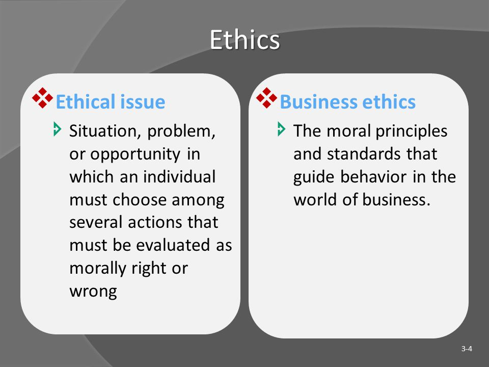 Ethics  Ethical issue  Situation, problem, or opportunity in which an individual must choose among several actions that must be evaluated as morally right or wrong  Business ethics  The moral principles and standards that guide behavior in the world of business.