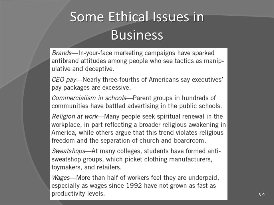 Some Ethical Issues in Business 3-9