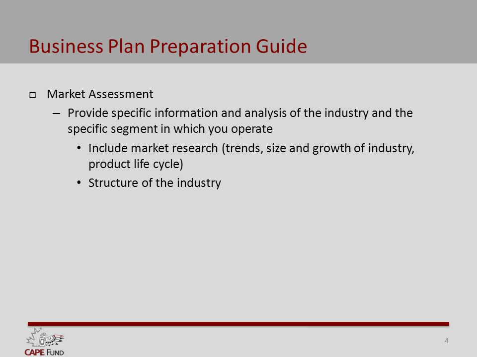 Business Plan Preparation Guide  Market Assessment – Provide specific information and analysis of the industry and the specific segment in which you operate Include market research (trends, size and growth of industry, product life cycle) Structure of the industry 4