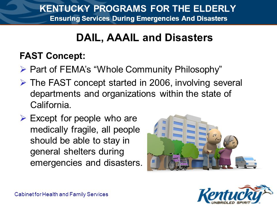 KENTUCKY PROGRAMS FOR THE ELDERLY Ensuring Services During Emergencies And Disasters Cabinet for Health and Family Services DAIL, AAAIL and Disasters FAST Concept:  Part of FEMA's Whole Community Philosophy  The FAST concept started in 2006, involving several departments and organizations within the state of California.