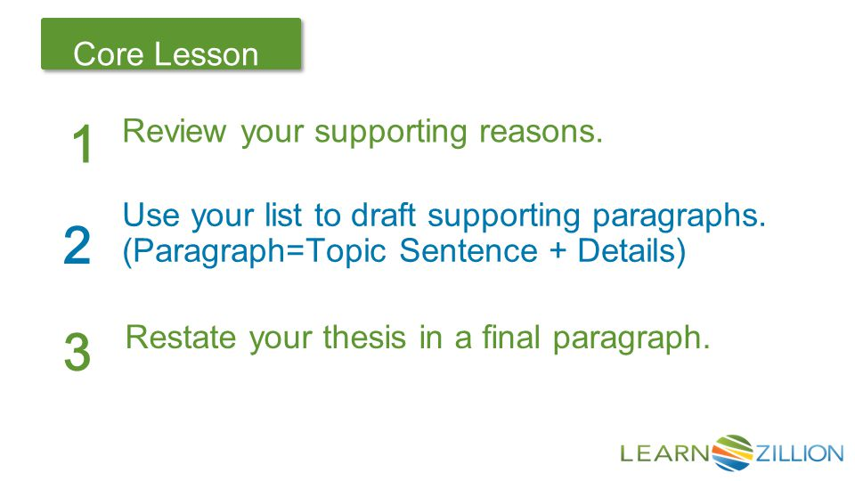 Let's Review Core Lesson 1 2 Use your list to draft supporting paragraphs.