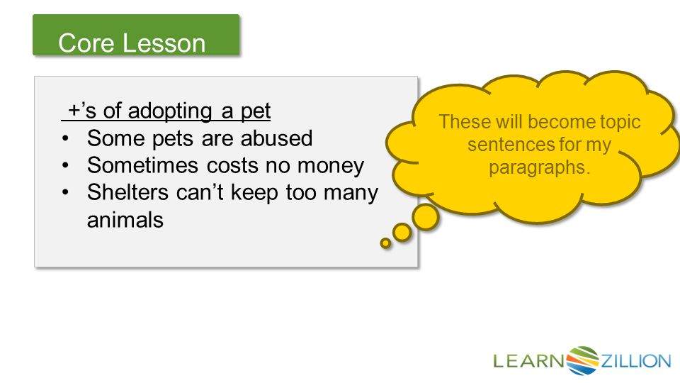 Let's Review Core Lesson +'s of adopting a pet Some pets are abused Sometimes costs no money Shelters can't keep too many animals +'s of adopting a pet Some pets are abused Sometimes costs no money Shelters can't keep too many animals These will become topic sentences for my paragraphs.
