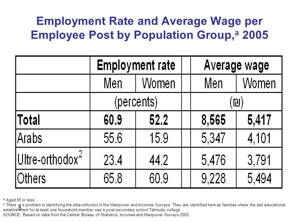 5 Employment Rate and Average Wage per Employee Post by Population Group, a 2005 a Aged 65 or less.