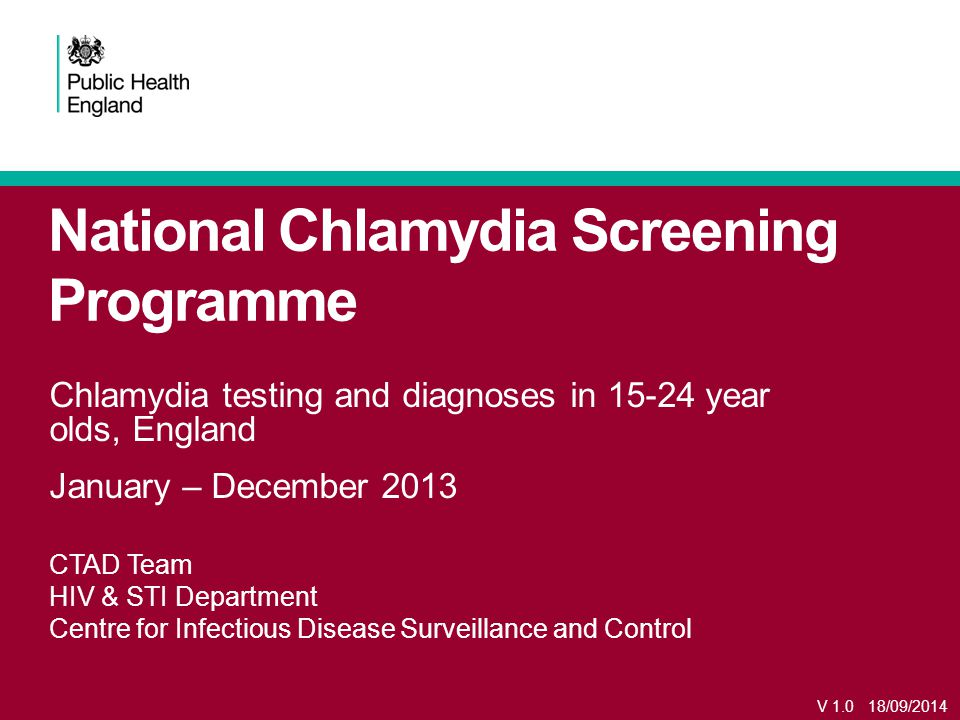 National Chlamydia Screening Programme Chlamydia testing and diagnoses in year olds, England January – December 2013 CTAD Team HIV & STI Department Centre for Infectious Disease Surveillance and Control V /09/2014