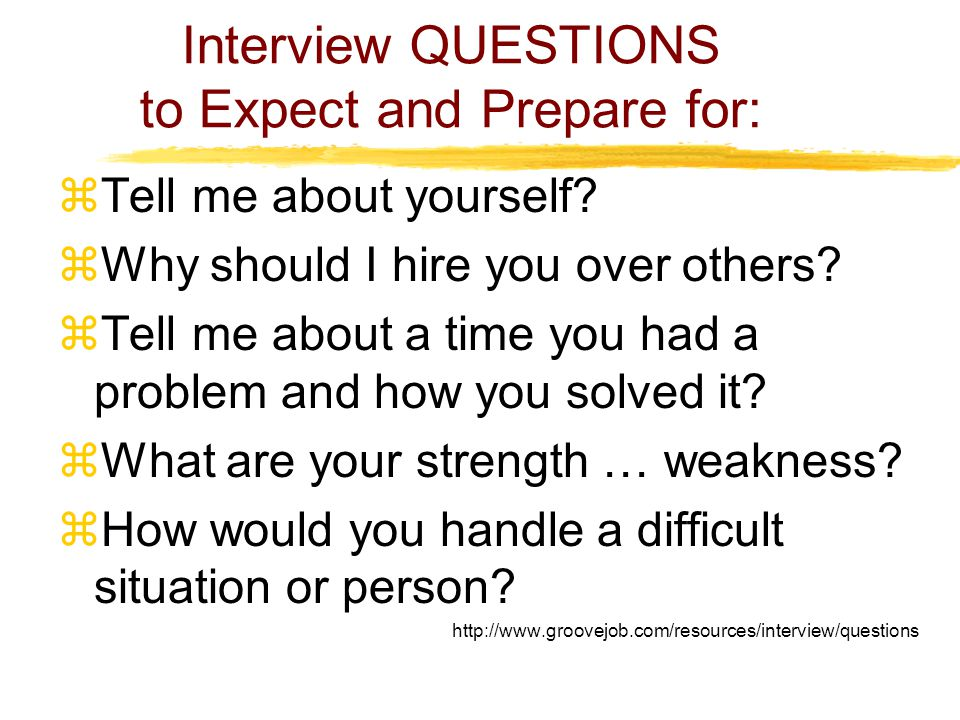 Interview QUESTIONS to Expect and Prepare for:  Tell me about yourself.