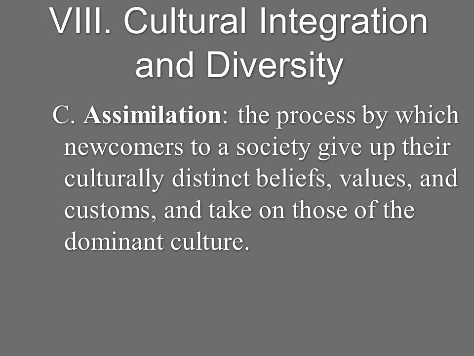 VIII. Cultural Integration and Diversity C.