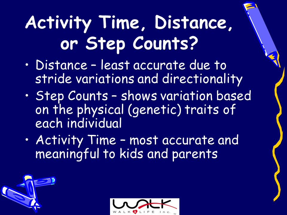 Activity Time, Distance, or Step Counts.
