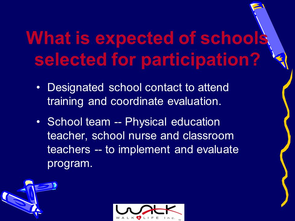 What is expected of schools selected for participation.
