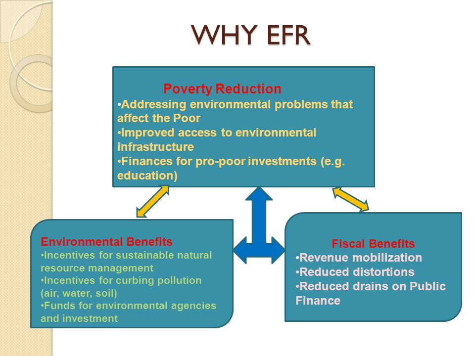 WHY EFR Poverty Reduction Addressing environmental problems that affect the Poor Improved access to environmental infrastructure Finances for pro-poor investments (e.g.
