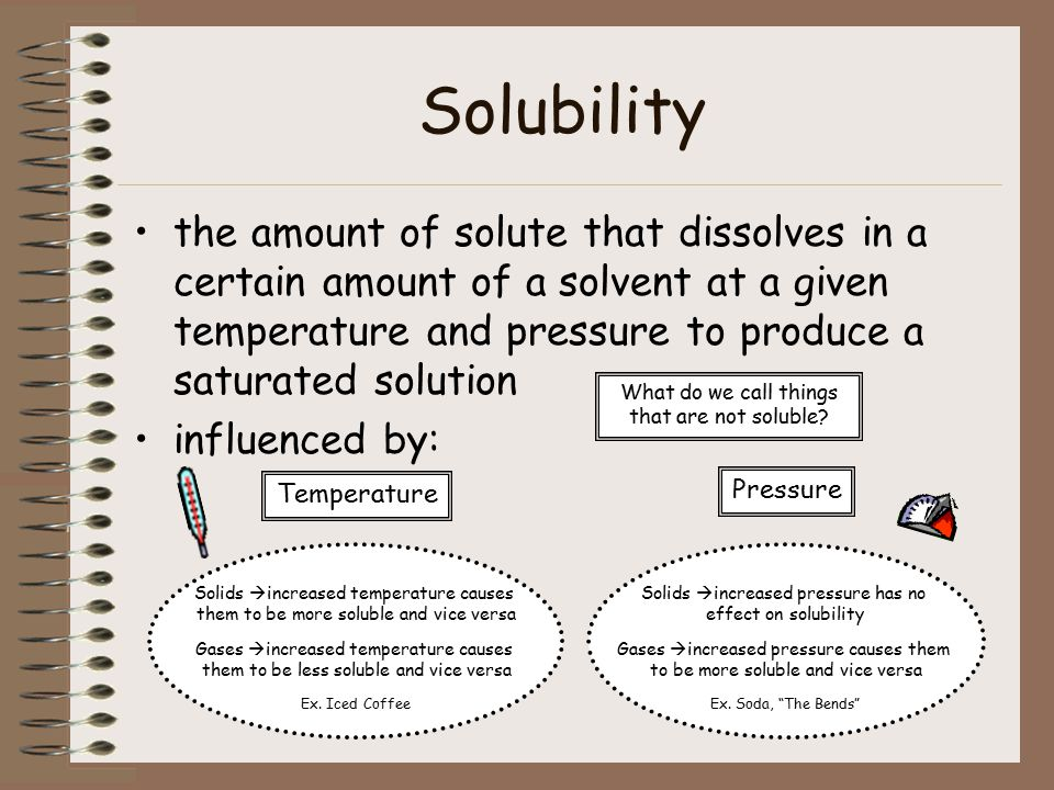 Solubility the amount of solute that dissolves in a certain amount of a solvent at a given temperature and pressure to produce a saturated solution influenced by: Temperature Pressure Solids  increased temperature causes them to be more soluble and vice versa Gases  increased temperature causes them to be less soluble and vice versa Ex.