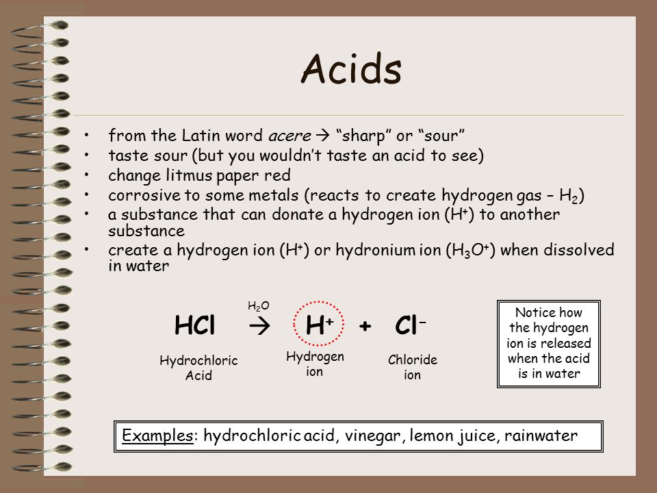 Acids from the Latin word acere  sharp or sour taste sour (but you wouldn't taste an acid to see) change litmus paper red corrosive to some metals (reacts to create hydrogen gas – H 2 ) a substance that can donate a hydrogen ion (H + ) to another substance create a hydrogen ion (H + ) or hydronium ion (H 3 O + ) when dissolved in water HCl  H + + Cl - Hydrochloric Acid Hydrogen ion Chloride ion Examples: hydrochloric acid, vinegar, lemon juice, rainwater H2OH2O Notice how the hydrogen ion is released when the acid is in water