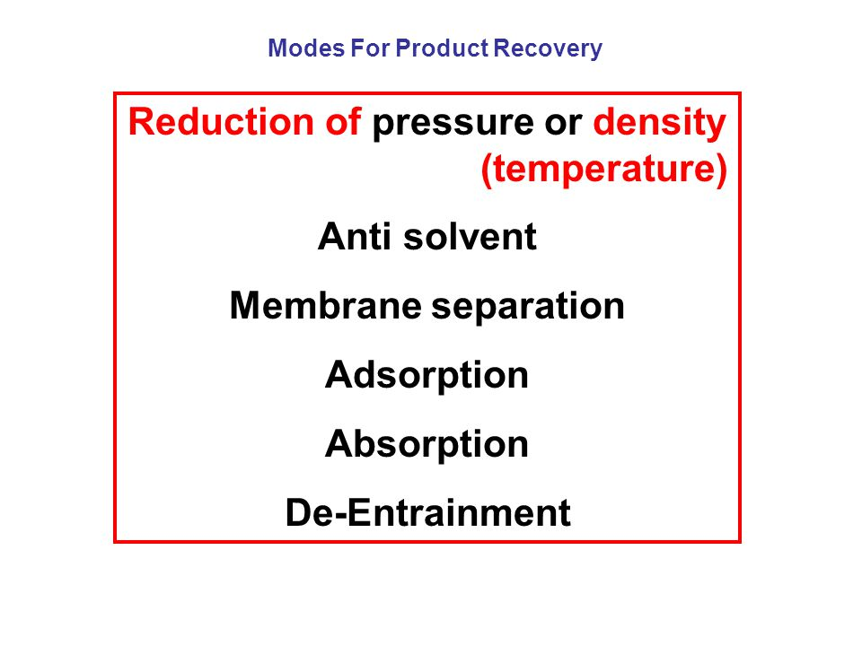 Reduction of pressure or density (temperature) Anti solvent Membrane separation Adsorption Absorption De-Entrainment Modes For Product Recovery