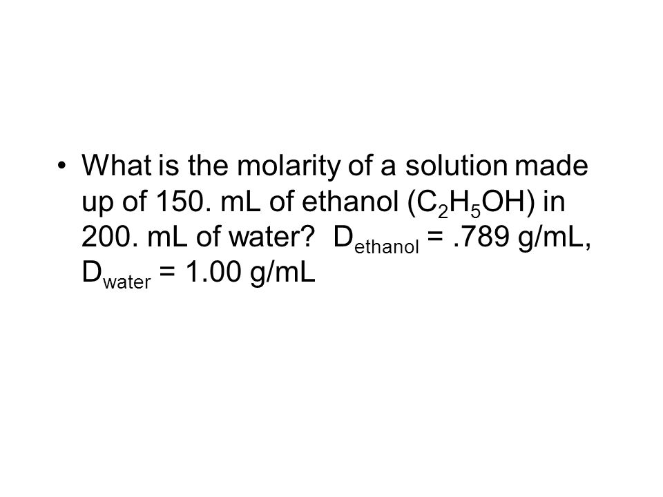 What is the molarity of a solution made up of 150.