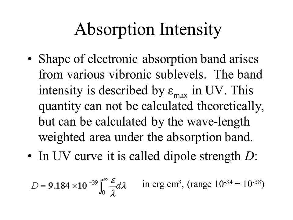 Absorption Intensity Shape of electronic absorption band arises from various vibronic sublevels.