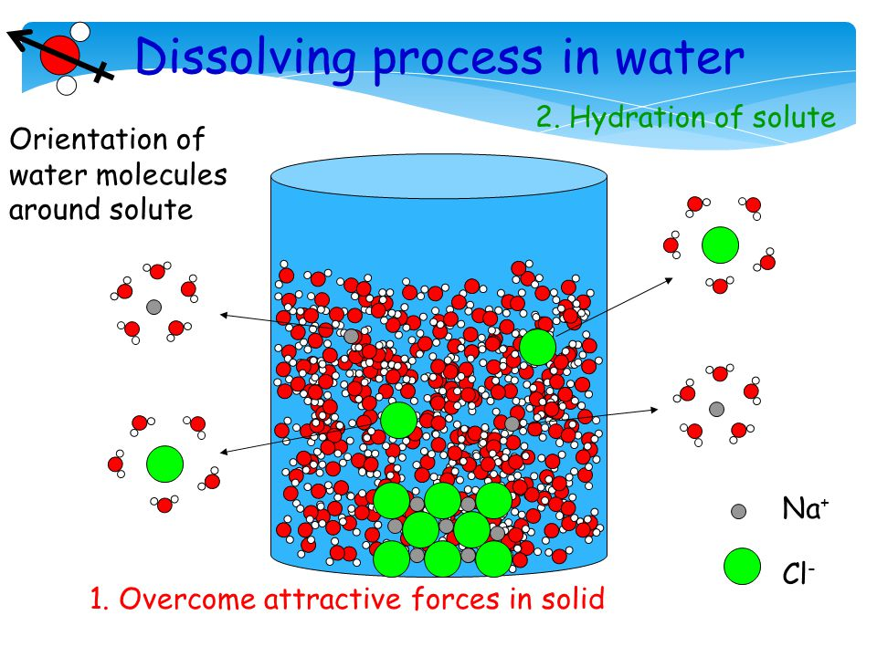 Dissolving process in water Na + Cl - 1. Overcome attractive forces in solid 2.