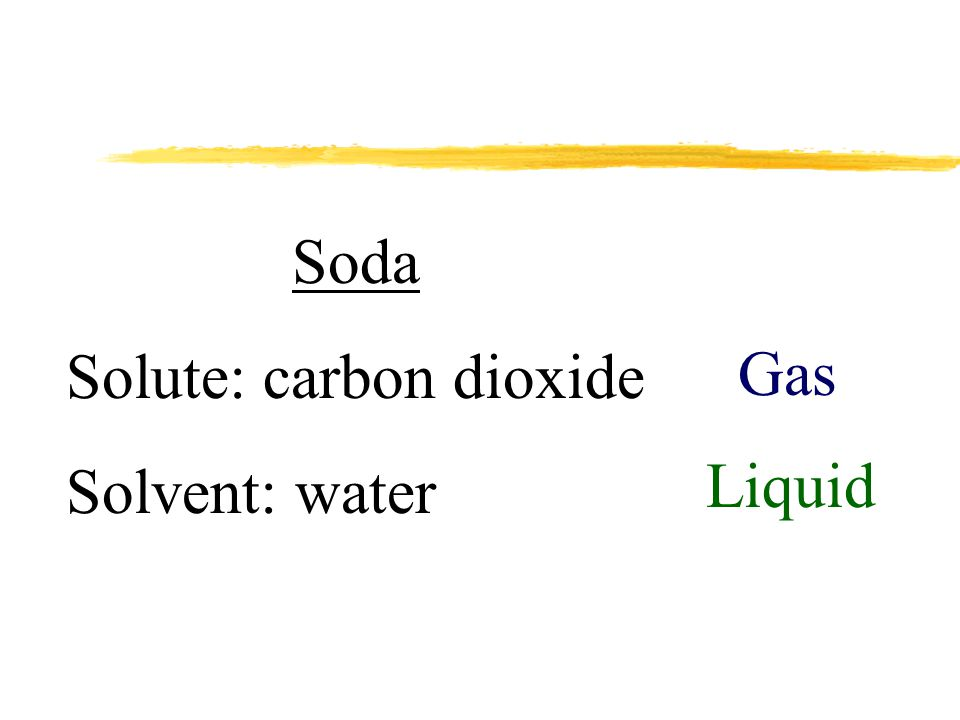 Soda Solute: carbon dioxide Solvent: water Gas Liquid