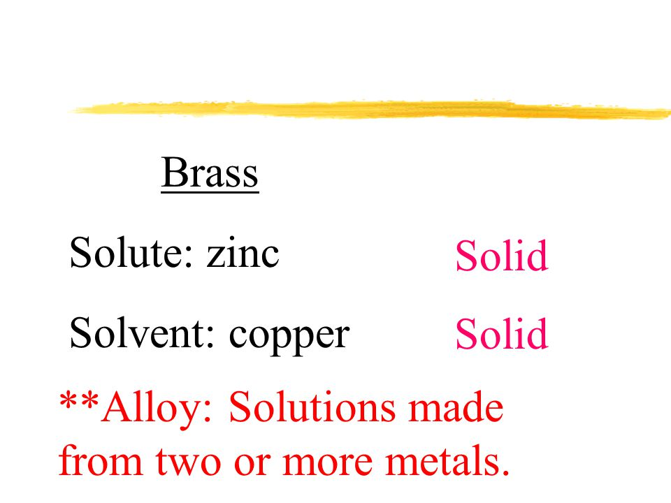 Brass Solute: zinc Solvent: copper Solid **Alloy: Solutions made from two or more metals.