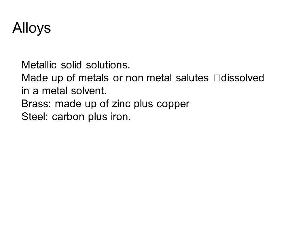 Alloys Metallic solid solutions.