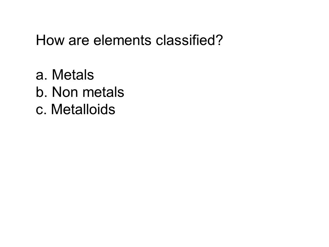 How are elements classified a. Metals b. Non metals c. Metalloids