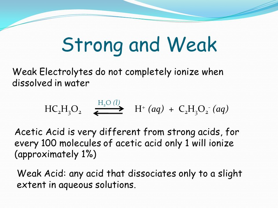 Strong and Weak Weak Electrolytes do not completely ionize when dissolved in water Acetic Acid is very different from strong acids, for every 100 molecules of acetic acid only 1 will ionize (approximately 1%) HC 2 H 3 O 2 H + (aq) + C 2 H 3 O 2 - (aq) H 2 O (l) Weak Acid: any acid that dissociates only to a slight extent in aqueous solutions.