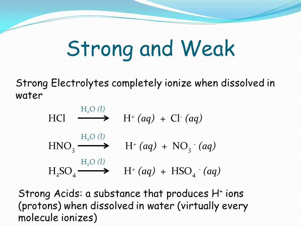 Strong and Weak Strong Electrolytes completely ionize when dissolved in water HCl H + (aq) + Cl - (aq) H 2 O (l) HNO 3 H + (aq) + NO 3 - (aq) H 2 O (l) H 2 SO 4 H + (aq) + HSO 4 - (aq) H 2 O (l) Strong Acids: a substance that produces H + ions (protons) when dissolved in water (virtually every molecule ionizes)