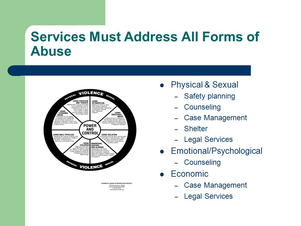 Services Must Address All Forms of Abuse Physical & Sexual – Safety planning – Counseling – Case Management – Shelter – Legal Services Emotional/Psychological – Counseling Economic – Case Management – Legal Services