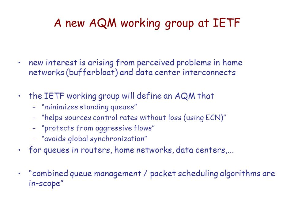 AQM and packet scheduling,    again! Jim Roberts IRT-SystemX