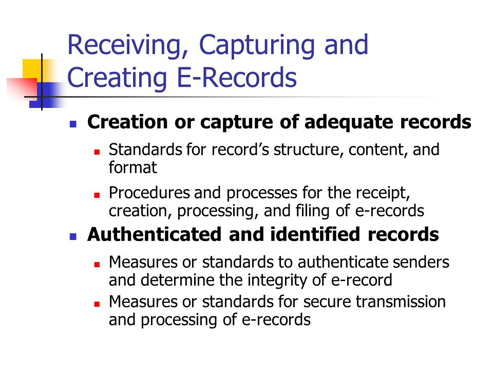 Receiving, Capturing and Creating E-Records Creation or capture of adequate records Standards for record's structure, content, and format Procedures and processes for the receipt, creation, processing, and filing of e-records Authenticated and identified records Measures or standards to authenticate senders and determine the integrity of e-record Measures or standards for secure transmission and processing of e-records