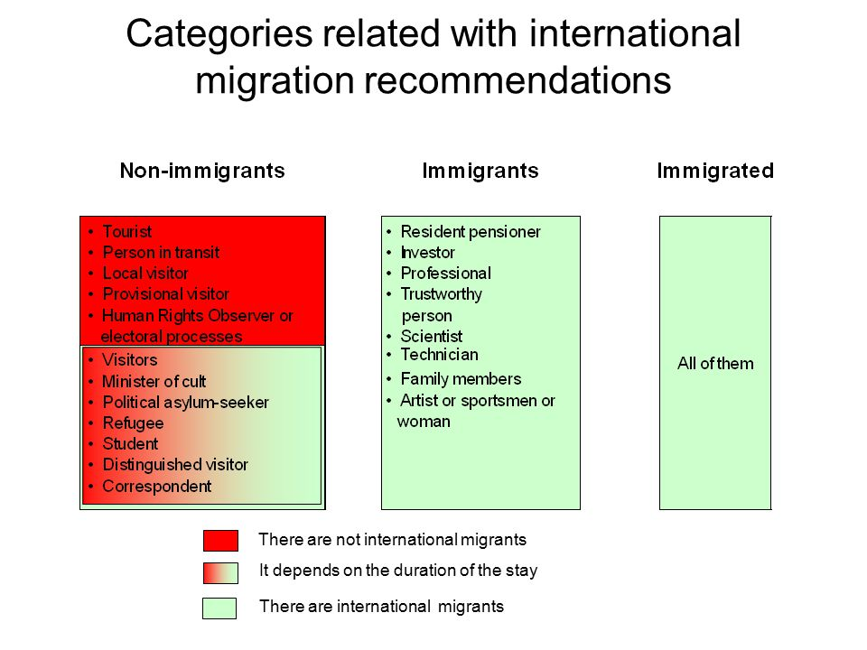 Categories related with international migration recommendations There are not international migrants It depends on the duration of the stay There are international migrants