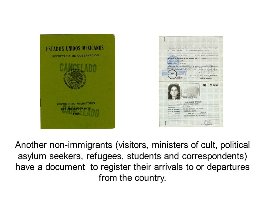 Another non-immigrants (visitors, ministers of cult, political asylum seekers, refugees, students and correspondents) have a document to register their arrivals to or departures from the country.