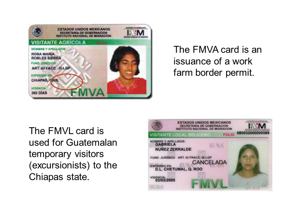 The FMVA card is an issuance of a work farm border permit.