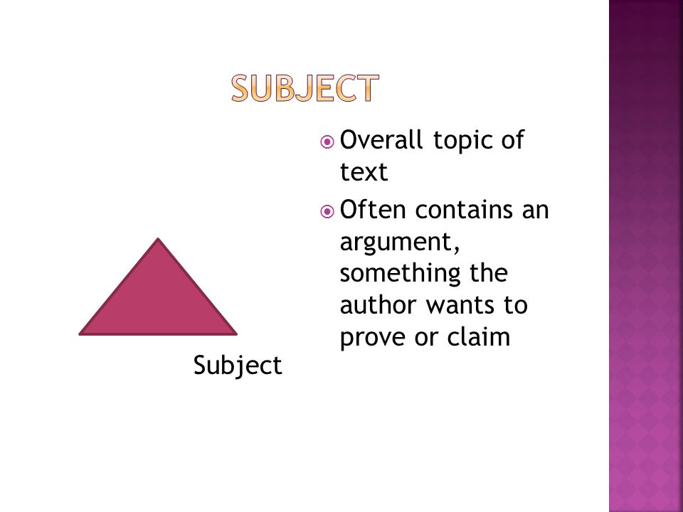 Subject  Overall topic of text  Often contains an argument, something the author wants to prove or claim