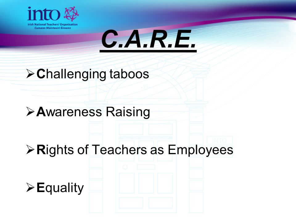 C.A.R.E.  Challenging taboos  Awareness Raising  Rights of Teachers as Employees  Equality