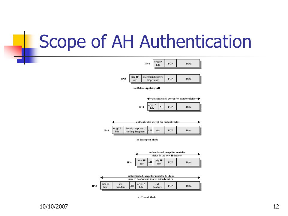 10/10/ Scope of AH Authentication