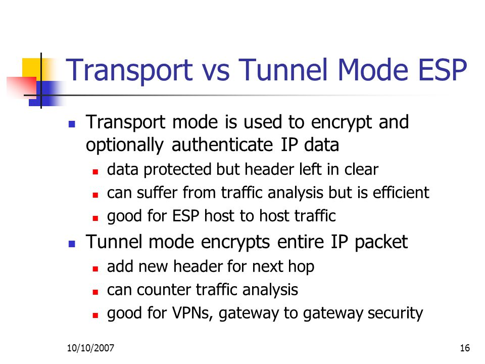 10/10/ Transport vs Tunnel Mode ESP Transport mode is used to encrypt and optionally authenticate IP data data protected but header left in clear can suffer from traffic analysis but is efficient good for ESP host to host traffic Tunnel mode encrypts entire IP packet add new header for next hop can counter traffic analysis good for VPNs, gateway to gateway security