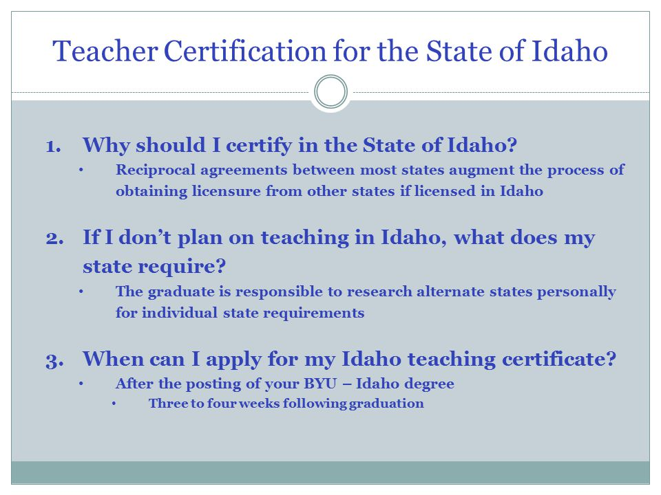 2008 Brigham Young University–Idaho. Teacher Certification for the ...