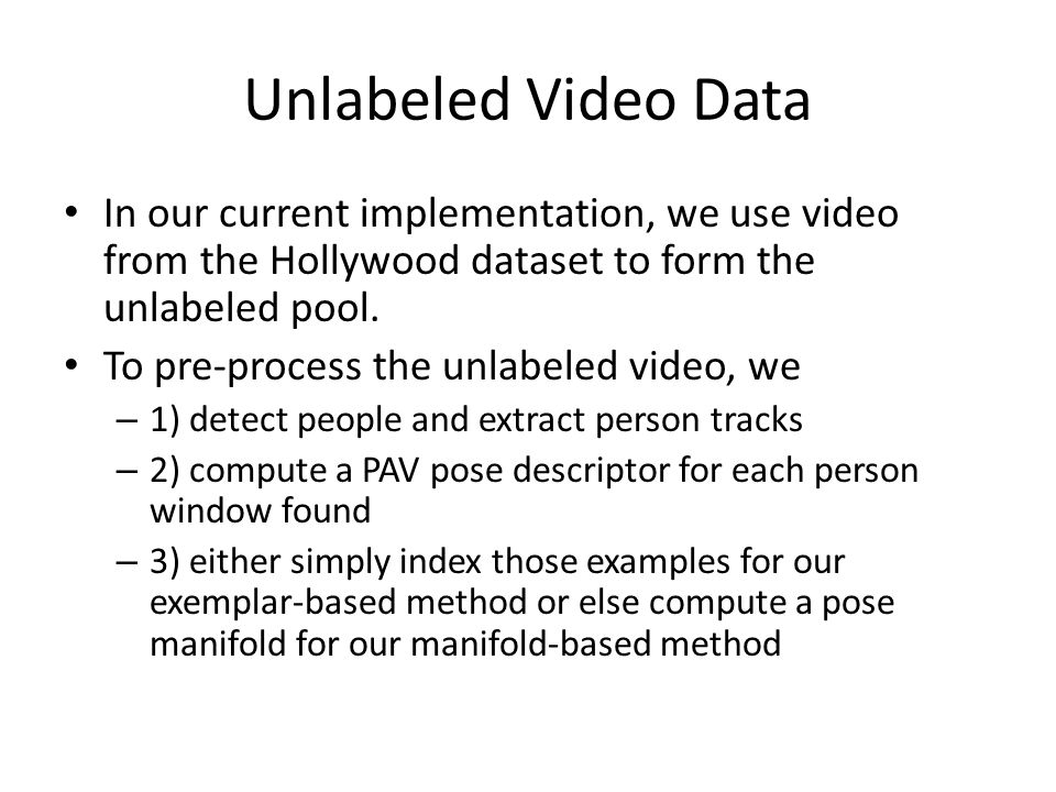 Unlabeled Video Data In our current implementation, we use video from the Hollywood dataset to form the unlabeled pool.