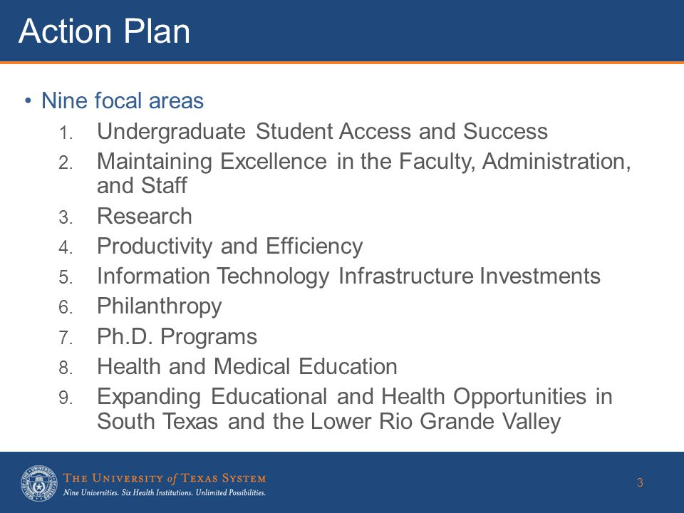 Nine focal areas 1. Undergraduate Student Access and Success 2.