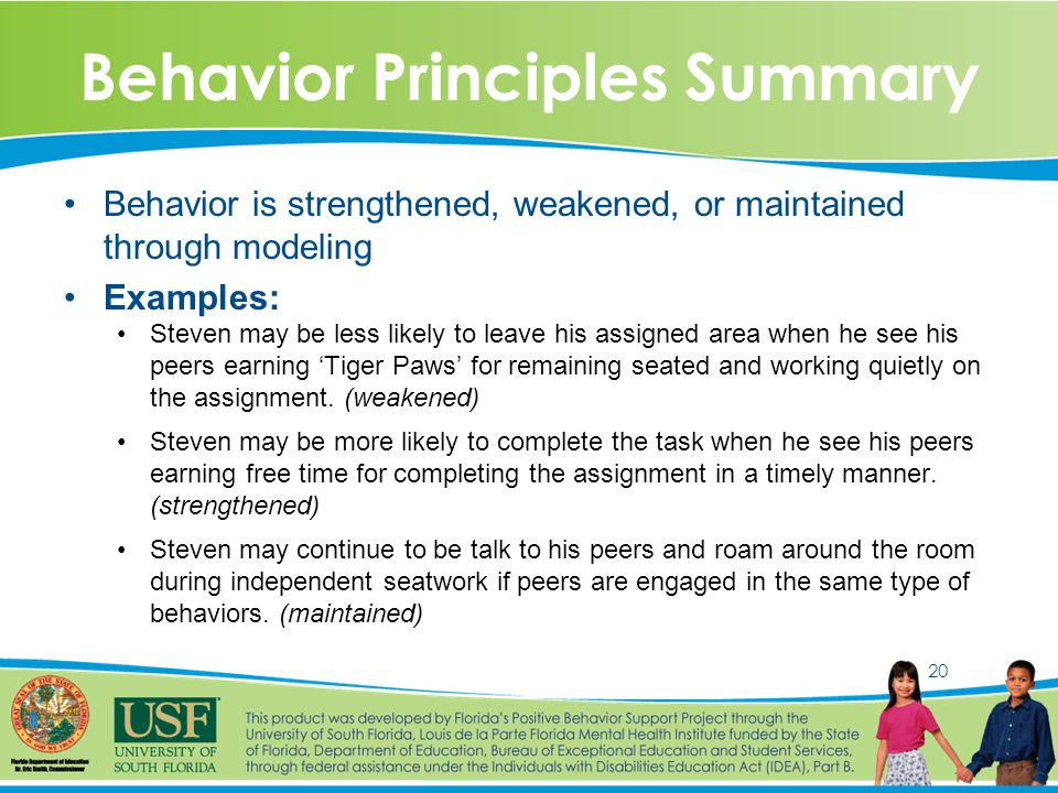 20 Behavior Principles Summary Behavior is strengthened, weakened, or maintained through modeling Examples: Steven may be less likely to leave his assigned area when he see his peers earning 'Tiger Paws' for remaining seated and working quietly on the assignment.