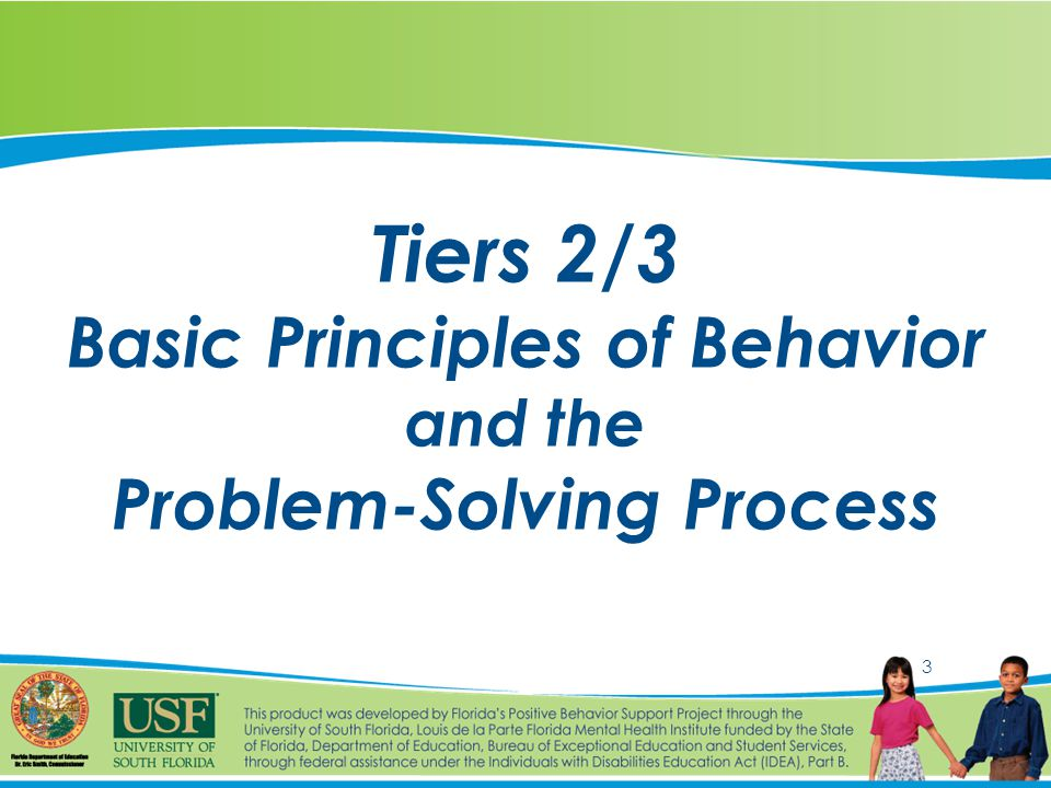3 Tiers 2/3 Basic Principles of Behavior and the Problem-Solving Process