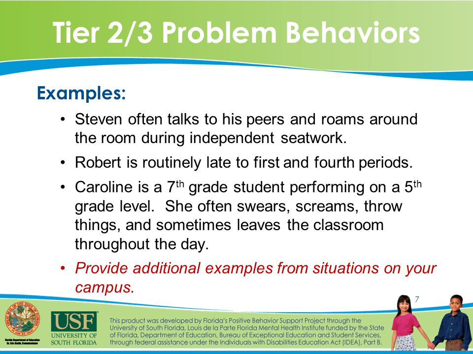 7 Tier 2/3 Problem Behaviors Examples: Steven often talks to his peers and roams around the room during independent seatwork.
