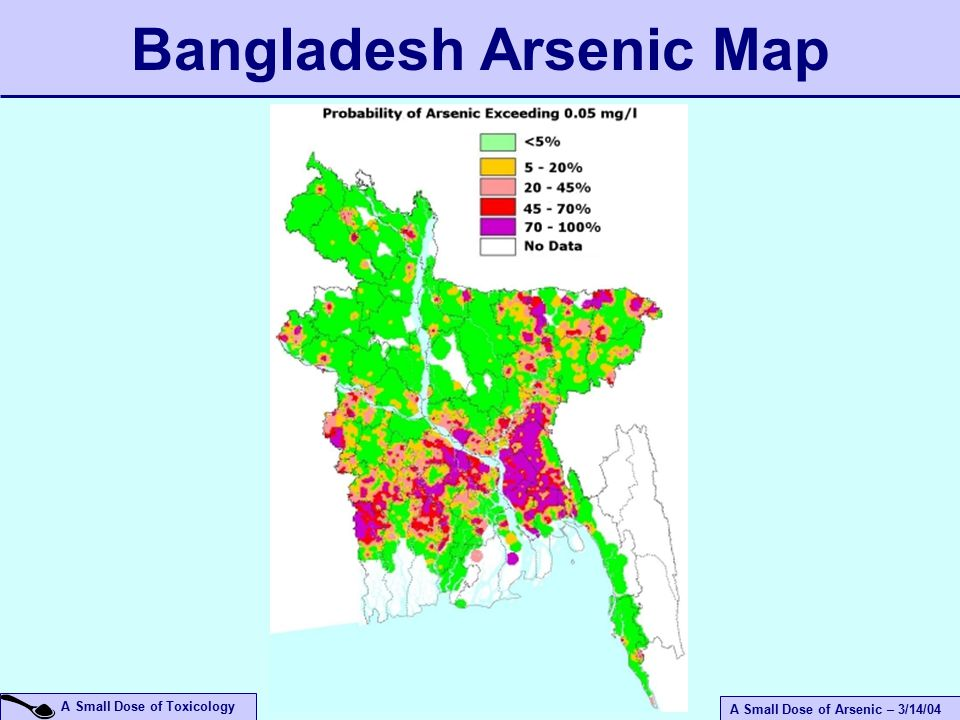 A Small Dose of Arsenic – 3/14/04 A Small Dose of Toxicology Bangladesh Arsenic Map