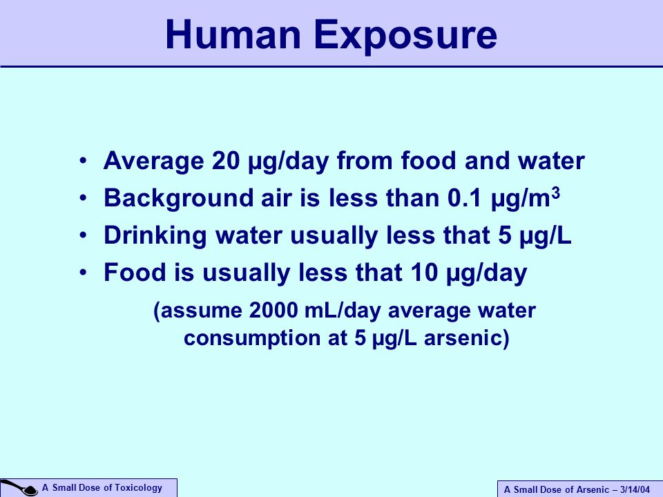A Small Dose of Arsenic – 3/14/04 A Small Dose of Toxicology Average 20 µg/day from food and water Background air is less than 0.1 µg/m 3 Drinking water usually less that 5 µg/L Food is usually less that 10 µg/day (assume 2000 mL/day average water consumption at 5 µg/L arsenic) Human Exposure