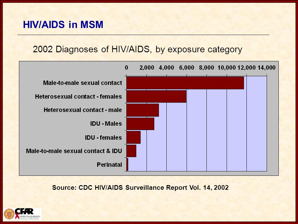 HIV/AIDS in MSM 2002 Diagnoses of HIV/AIDS, by exposure category Source: CDC HIV/AIDS Surveillance Report Vol.