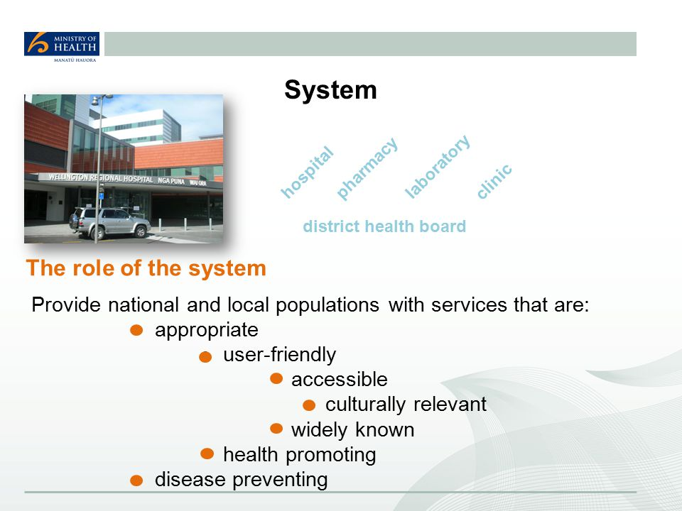 System Provide national and local populations with services that are: appropriate user-friendly accessible culturally relevant widely known health promoting disease preventing The role of the system hospitalpharmacy clinic laboratory district health board