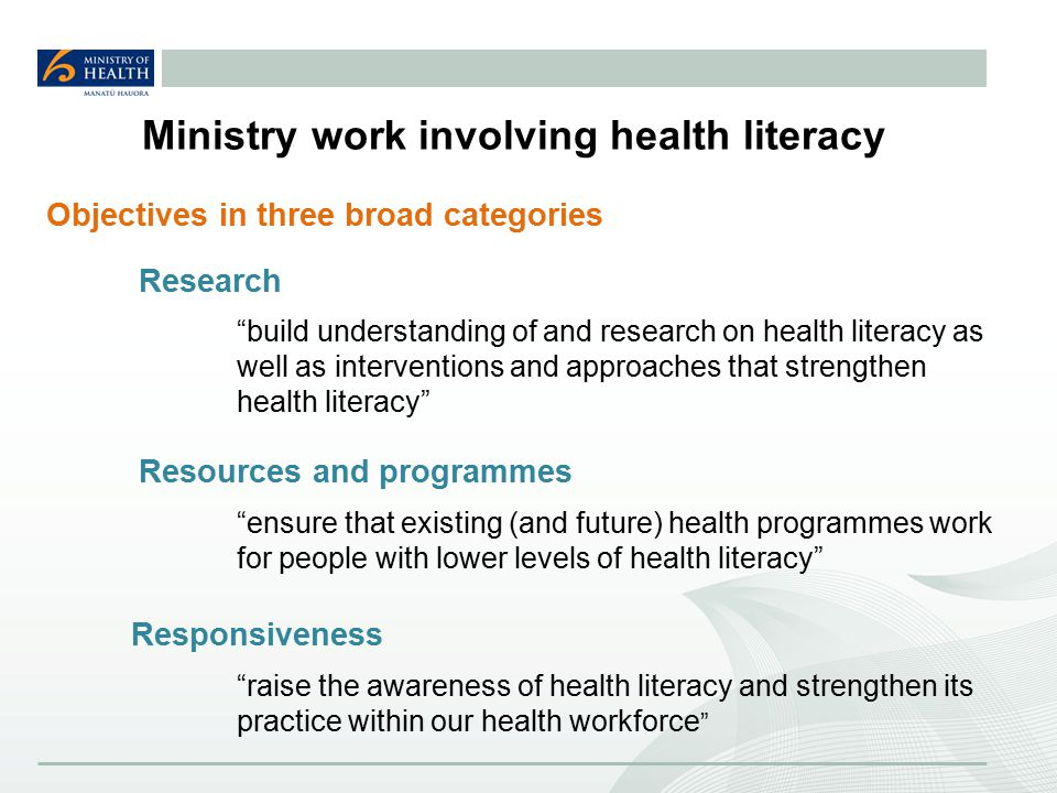 Ministry work involving health literacy Research build understanding of and research on health literacy as well as interventions and approaches that strengthen health literacy Resources and programmes ensure that existing (and future) health programmes work for people with lower levels of health literacy Responsiveness raise the awareness of health literacy and strengthen its practice within our health workforce Objectives in three broad categories