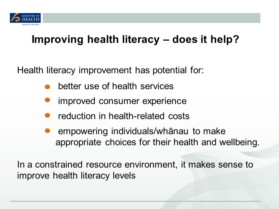 Improving health literacy – does it help.