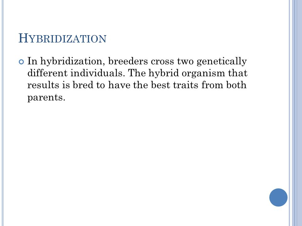 H YBRIDIZATION In hybridization, breeders cross two genetically different individuals.
